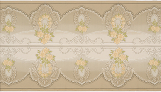 Floral bouquets with ribbon garland and beading. Two borders printed across the width.
