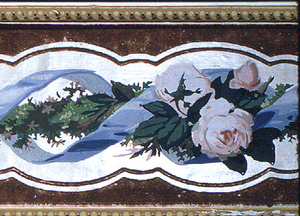 Baguette motif formed of blue ribbons and green rod, with alternating clusters of moss roses and forget-me-nots, printed in colors on a white field.