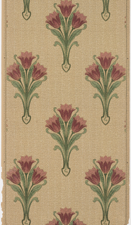 Repeating motif of three tulip flowers and foliage. Printed in red and green on tan background resembling textile.