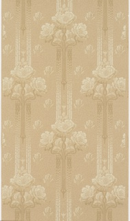 On textured brown ground, white and brown gradient floral motifs on vertical bands; staggered single flowers.