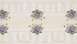 Bouquet of purple flowers sitting on top of white cafe curtains. Two borders printed across the width.