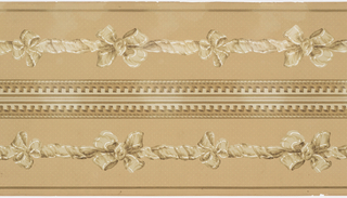 Central band of ribbons with bow knots, dentil molding and cable molding across top. Printed two borders across the width.