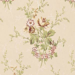 On taupe ground, bouquets of wild flowers in brown, yellow, white, and pink.