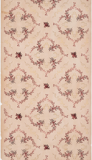 There are repeating registers of curvy diamonds that are made up of thin brown/red floral boughs. Inside of the floral diamond patterns are metallic gold C-scrolls. The same C-scrolls also border the outside of the diamond shape and are marked on both ends by larger red flowers. The use of mica makes the floral decoration shiny. Printed with mica on a rosy-brown ground