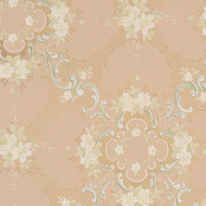 On brown ground, curved treillage with some scalloped motifs in white, gold, blue, and white floral clusters.