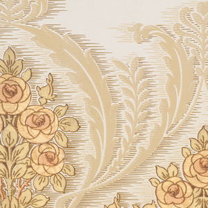 A repeating design of geometric flowering trees within scrolling acanthus-like borders connected by complementary flowering vines upon a background of brown, resembling water, turning into cream with horizontal splashes, complementing the darker area below, between complementary borders of gilt and bronze. Printed in cream, beige, brown, olive green, rust, gilt and bronze.