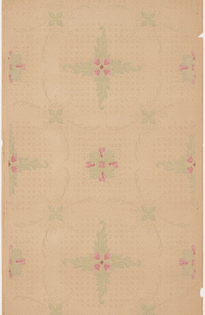 Quatrefoil or cross-shape composed of acanthus foliage and red bellflowers enclosed within foliate wreath. At the intersection of four circles is a foliate and floral rosette. Printed in red and green on tan ground.