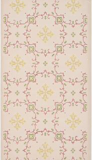 Yellow geometric fleur-de-lis motifs are in the center of a decorative framework. The framework consists of barbed quatrefoils that are made up of two tones of pink scrolling patterns. The scrolls that connect the barbed quatrefoils makes an X-shape and has symmetric and geometric green foliage in the corner lobes. This design is repeated on a light tan background.