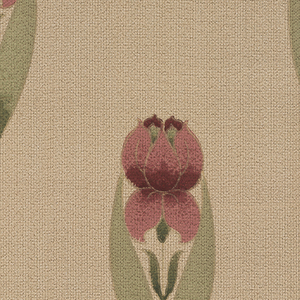 Repeating motif of a very stylized flower, perhaps a tulip. A large red flower is almost enclosed within two scissor-like leaves. Printed on background simulating textile.