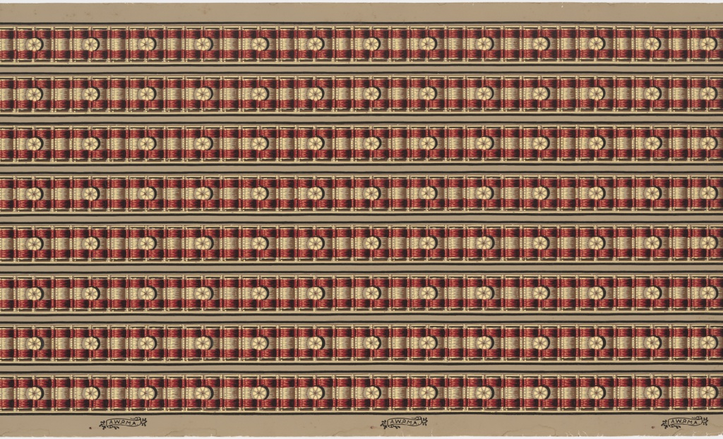 Printed eight borders across the width, red and tan-striped ribbon with a boss or tuft every third pair.