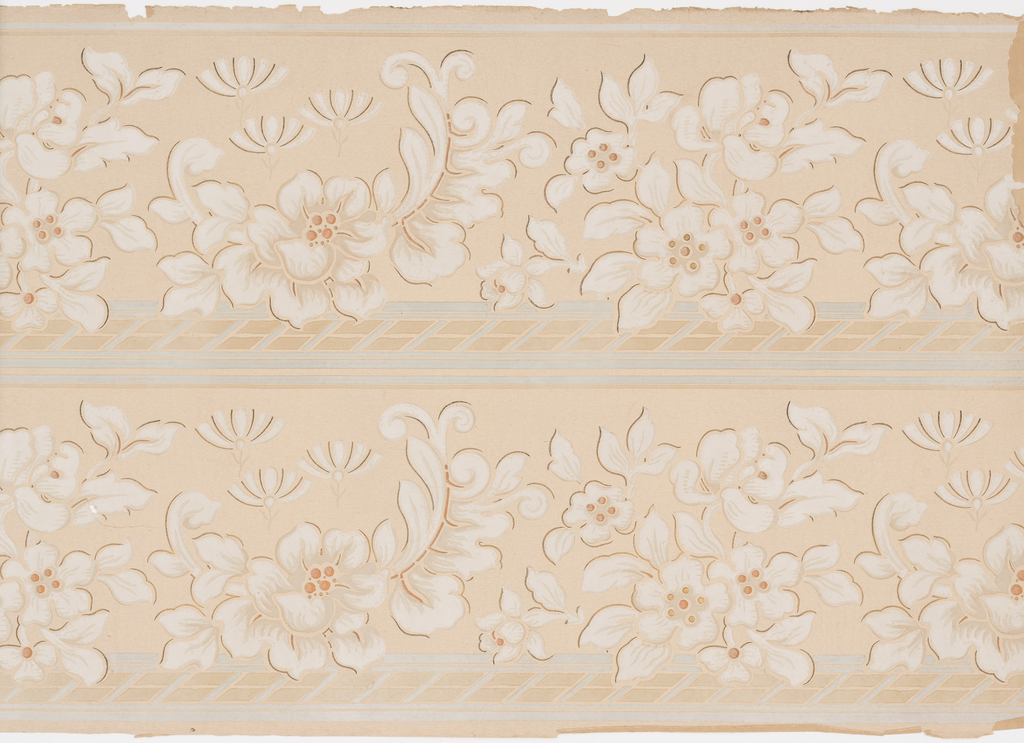Folliage and flowers; band across bottom; metallic copper accents. Two borders printed across the width.