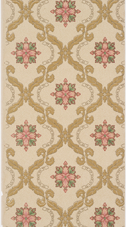 On light green-yellow ground, olive green vine treillage containing floral motifs in green and pink.