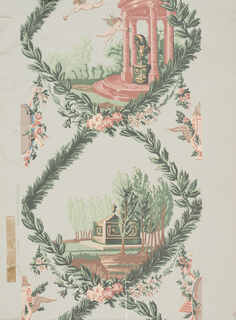Design is a reproduction of a late 18th century French commemorative paper, evidently in honor of a composer because of the musical instruments displayed. Diamond-shaped vignettes with sides outlined with laurel leaves and evergreens contain alternating scenes. One shows an open circular colonnade with a male bust on a pedestal within and two putti are flying about. Alternating scene depicts tombstone with classic urn on top and surrounded by trees. The designs on either side are composed of lyres and tambourines. Found in Joseph Hebbes' house in Edenton, NC. Built in 1757-65.