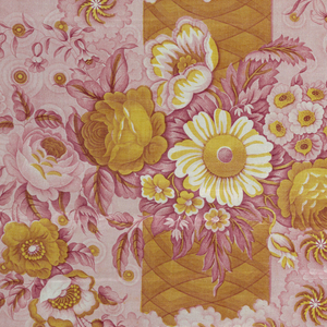 """Vertical column, assymetrically placed, with flowers and """"Catherine wheels"""", on a ground of overlapping concentric circles, in bright pink and yellow."""