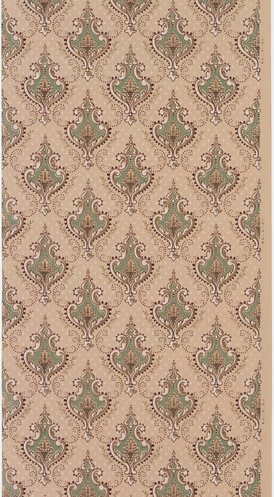 On tan ground, staggered medallions in arabesque form framed by scrolls containing turquoise ground with geometric structure.
