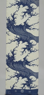 Length of cotton for a yukata with a bold, stylized wave motif in indigo on white.