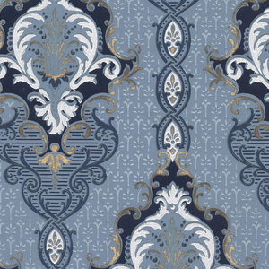 Medallion stripe design. Printed in shades of blue, white and metallic gold on blue background.