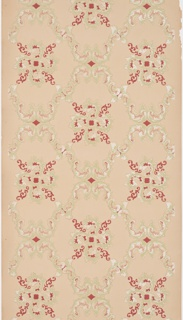 Acanthus scrolls form a square trellis pattern. Printed in red, green and mica.