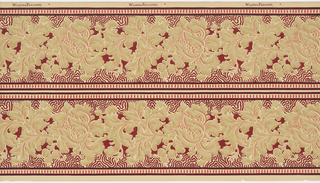 Scrolling foliage on a central burgundy background; red dental work across top and bottom; printed 2 across.