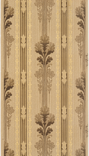 Foliate stripe design. Wide bands of foliage, having the appearance of oak leaves, in clusters of five, set between bands of narrow metallic gold motif. This alternates with narrow band. Printed in shades of brown, tan and metallic gold on strie background.