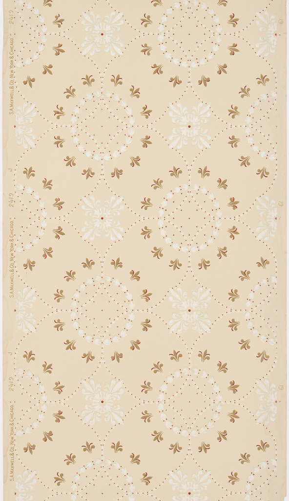 Circular motif alternating with a square motif. Circular motif is composed of a bellflower wreath with an outer surround of fleur de lys, while the square is a quatrefoil. Printed on a tan ground.