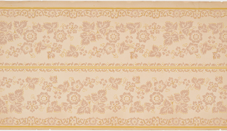 On tan ground, pattern of taupe flowers and leaves; border of scrolls with flowers. Two borders printed across the width.