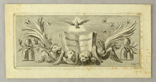 """An opened book with the lettering: """"DEPOSITVM CVSTODI / Ad Timoth I. C. 6"""" rises over the symbols of the Evangelists and is flanked by palm and laurel boughs. Over it the Dove before a triangle. Rays, stars. Laterally are shown the triple mounts and the stars of the coat of arms of Pope Clement XI (1700–1721)."""