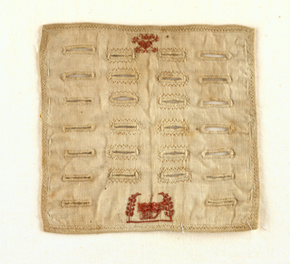 Small sampler with four columns of decorative buttonholes worked in white on a white ground; red coat of arms at center top and red date at center bottom.