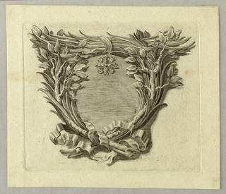 Laurel and palm branches frame an ovoid, on top of which a cross with stars in the angles is shown.