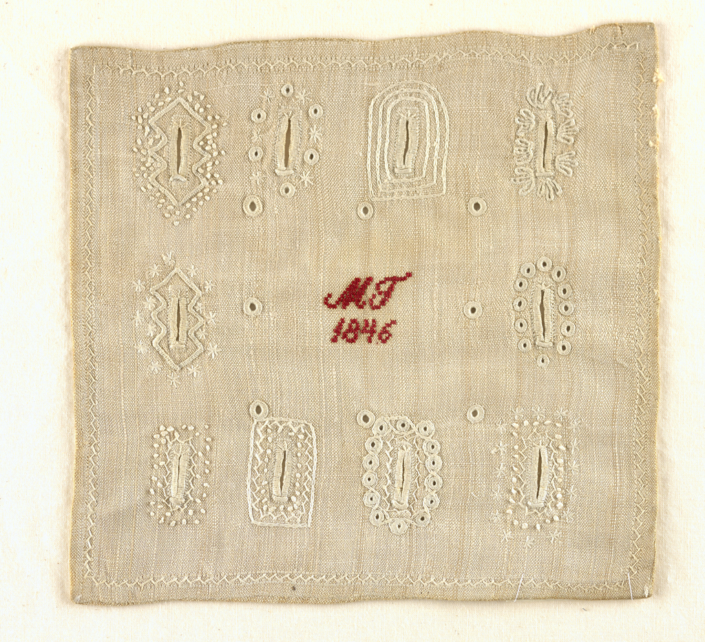 Small sampler with decorative buttonholes worked in white on a white ground, with the inscription and date in red at center.