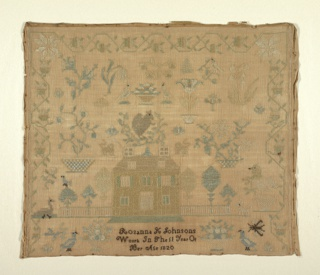 A very stylized strawberry vine border on three sides encloses scattered motifs and a house.  Signed: Rosanna K. Johnsons Work in the 11 year of her Age 1820