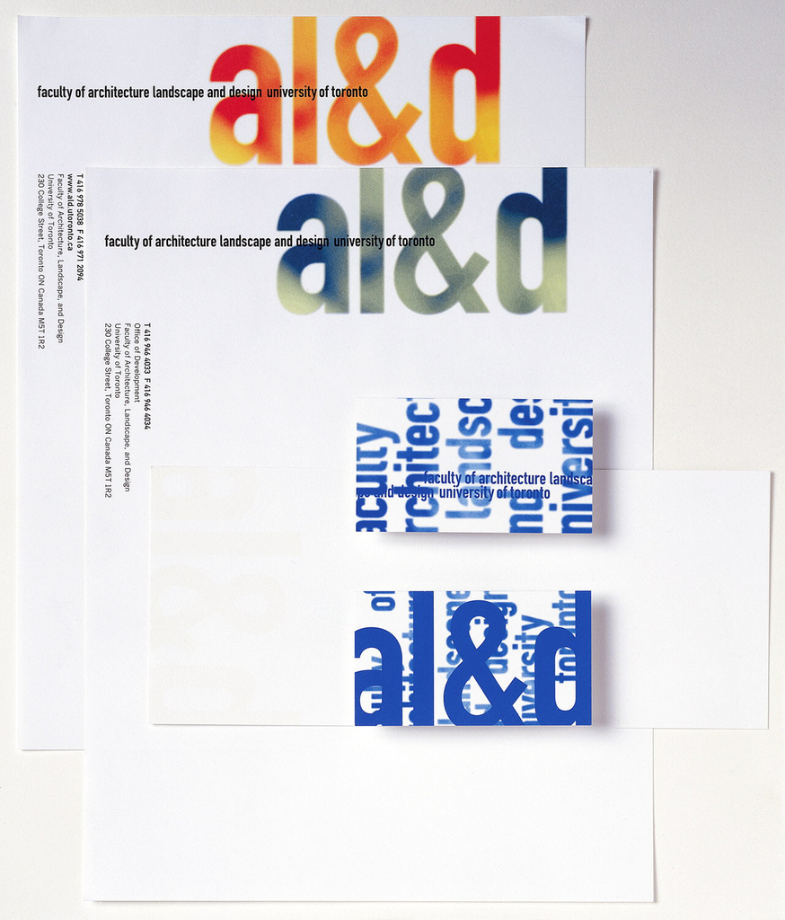 "Letterhead for Faculty of Architecture Landscape, and Design at University of Toronto.   Imprinted at top off-center, in large font, ""al&d"" (in green/blue).  Starting from top left and across, imprinted ""faculty of architecture landscape and design university of toronto"" (in black bolded) which overlaps with ""al&d"" along middle of this logo. Imprinted along upper left edge, vertically ""T 416 978 5038 F 416 971 2094 (in bold)/ www.aol.utoronto.ca (in bold)/ Faculty of Architecture, Landscape, and Design/ University of Toronto/ 230 College Street, Toronto ON Canada M5T 1RS"" (all in black).  Paper: white strathmore 25% cotton writing paper."
