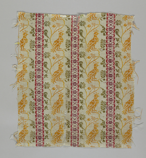 Vertical stripe: wide bands of ivory patterned in yellow and green with a curving vine on which birds are perched, alternating with narrow stripes with small, regular rosettes in red and purple.