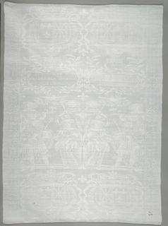 Large white damask napkin commemorating the marriage of Louis XIV and Marie-Therese in 1660.