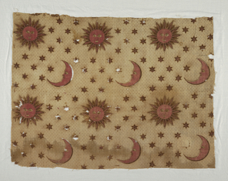 Rows of images of  the Sun and the Moon on a field of stars. In black brown and red on off-white.