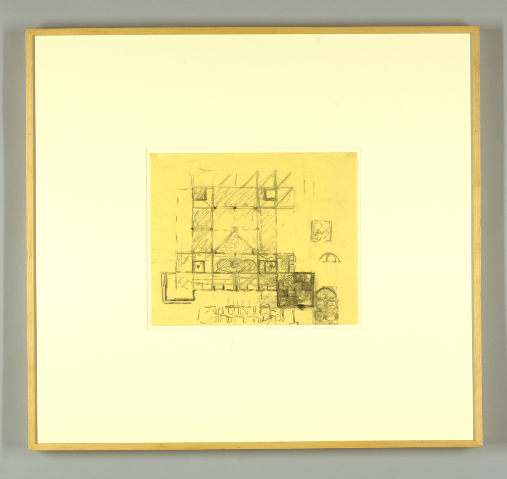 Drawing, Phillips Exeter Library, Exeter, NH: Sketch of Plan with Elevations