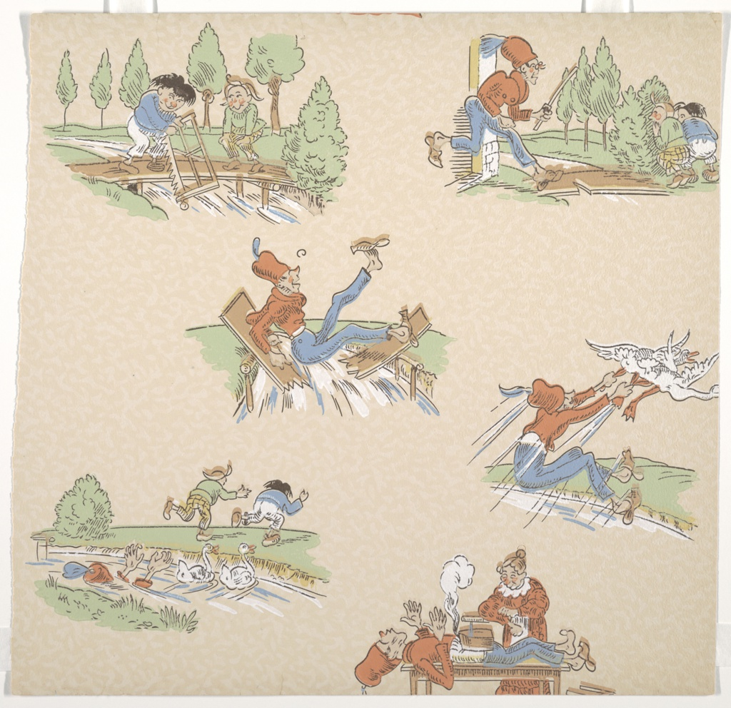 "Vignettes of Katzenjammer kids and parents depicting numerous acts of mischief performed by the kids and suffered by the parents.  Paper is lightly embossed in allover pattern. Samples include: ""New Orleans"", ""Cocktail"". Includes several samples of children's papers. g) ""Max and Moritz"" by Wilhelm Busch: this paper illustrates the third trick from ""A Juvenile History in Seven Tricks""."