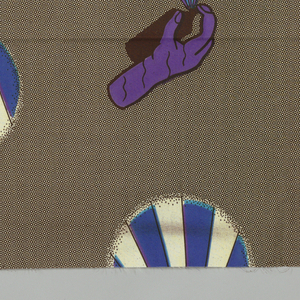 Hands spraying aerosol cans on a background of small dots. Printed in brown, blue and purple on an off-white ground.