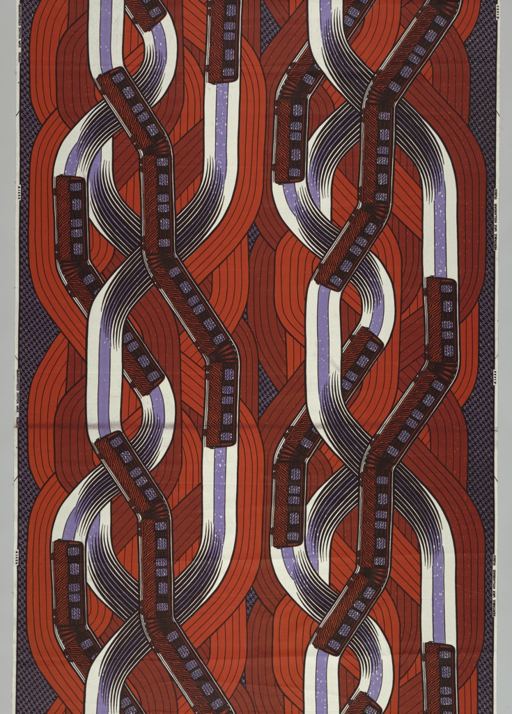 Subway train and interlacing track.  Printed in red and purple on white ground.
