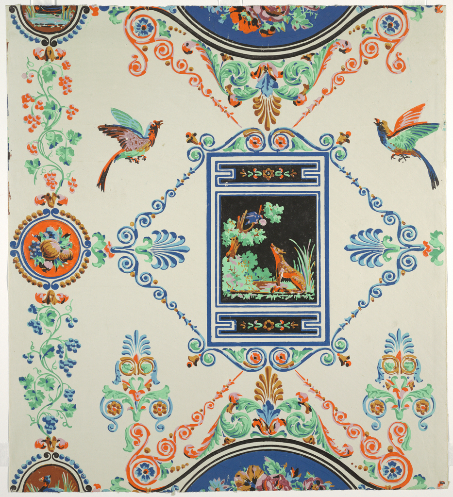 """Greek revival style. Central motif is a framed picture of Aesop's fable """"The Fox and the Crow"""" on black background. Surrounded by medallions of fruits and flowers, trailing grape vines, Greek palmettes, birds, and scrolls. Printed in nine colors: orange, brown, black, lavender and blue on an off-white satin or polished ground."""