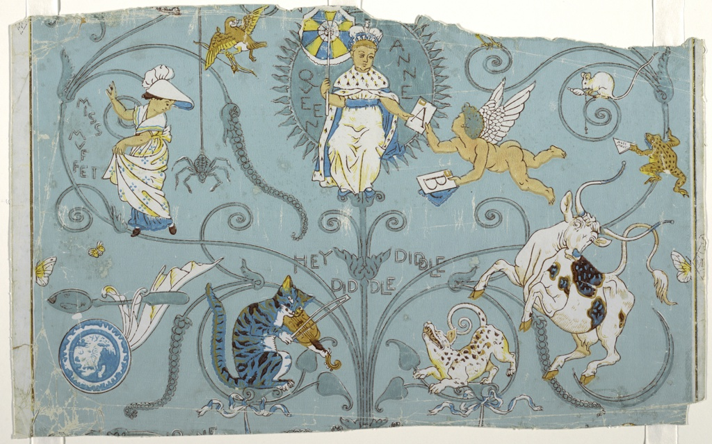 "The second children's wallpaper designed by Walter Crane. Nursery rhymes depicting Queen Anne seated in a swing receiving ""ABC's"" from Cupid. Miss Muffet and the spider, the plate and the spoon, Hey Diddle Diddle, the cat and the fiddle, the cow jumps over the moon while the little dog laughs. Miss Mouse being presented with a billet doux (sweet note) by Mr. Frog. The repeat is incomplete."