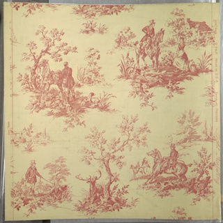 Drop-repeating design of five vignetted motifs showing; stag with dog, man afoot with dog, dismounted man with horse and dogs, men on horseback, man on horseback and milkmaid. Design has been reproduced photographically from an English chintz or toile design.