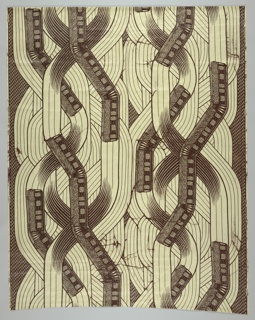 Subway train and interlacing tracks.  Printed in brown on white ground with printed glaze pattern.