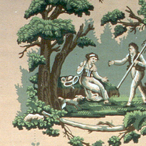 A landscape vignette in the Louis XVI style containing a view with trees and shepherd and shepherdess, aoo9ng with two sheep and a little dog. This alternates with draped fabric or lambrequin, above which is a foliate swag upon which two doves perch, suspended from floral motif. Printed in green, white and brown on a light terra cotta ground.