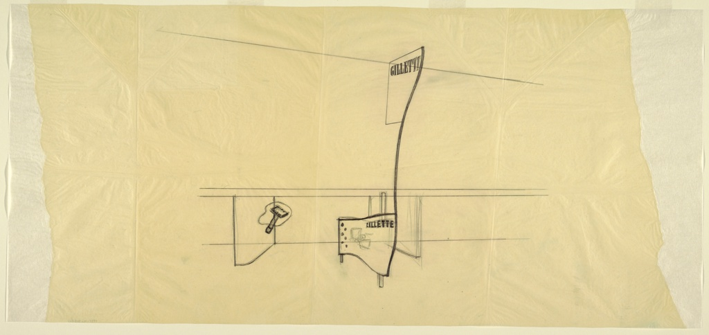 Design for Gillette exhibit at the 1939–40 New York World's Fair. Preliminary perspective sketch shows exhibit bay created by trapezoidal walls that open outward. At right, amorphous shape superimposed by Gillette safety razor seems to float. At right, informational panel of amorphous scrolling shape supported by posts punctuated by series of dots at left, an illegible shape at center, and Gillette brand name at upper right. Right edge of panel is curved and extends upward to triple-height ceiling of exhibition hall, terminating in irregularly shaped placard bearing Gillette brand name.