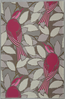 Flattened and abstracted design of birds on leafy branches. Printed in light grey, dark grey, light pink, dark pink and metallic gold on a medium grey ground.