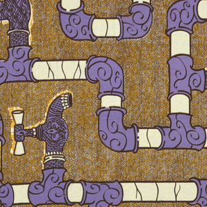 Pipes and faucets. Printed in brown, ochre and purple on an off-white ground.