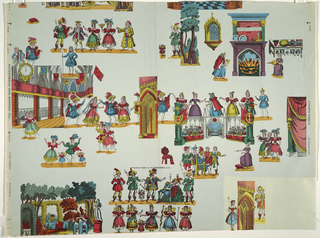 "Children's paper with design for scenes and costumes for the characters in ""Cinderella"". Characters are named and placed in random pattern. In brilliant colors on pale blue ground."