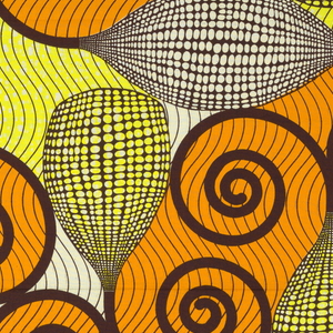 Abstract design of bulbs filled with irregular dots, terminating in spiral arabesques on a background of wavy lines. Printed in maroon, yellow and orange on an off-white ground.