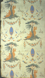 Arabesque with classical orange figures in landscapes, alternating with lyre motif. Also, floral swags and vining acanthus tendrils.  Printed orange, green and blue, with red highlights, on beige ground.